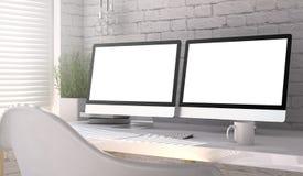 double écran vide Images libres de droits