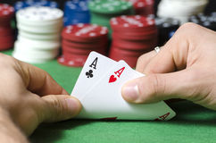Double ace in poker Stock Photo