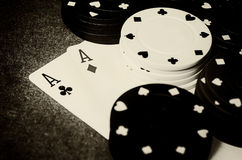 Double ace in poker Royalty Free Stock Photo