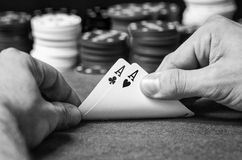 Double ace in poker in black and white Stock Images