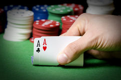 Double ace in poker Stock Photos