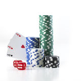 Double aces with big stack and dice Royalty Free Stock Photos