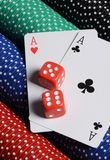 Double aces with big stack and dice Stock Photography