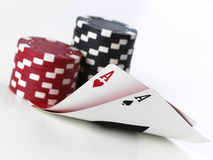 Double aces with fiches Royalty Free Stock Photography