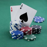 Double aces with fiches Stock Images