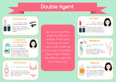 Double agent beauty tips infographic Royalty Free Stock Images