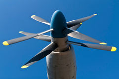 Aircraft propeller. Double aircraft propeller on blue sky royalty free stock images