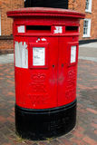 Double Aperture Pillar Box. A Royal Mail `E2R` double-aperture pillar box in the town centre at Rayleigh, Essex. Pillar boxes like this were once common on the Stock Photo