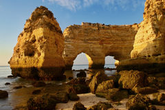 The double arch. A natural formation (double arch) at the coast (Portugal Royalty Free Stock Images