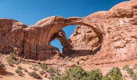 Double Arch in Arches National Monument, Utah. USA Stock Images