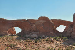 Double arch, Arches National Park; Utah; Usa Royalty Free Stock Photo