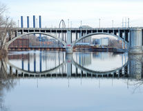 Double arch bridge Minnesota. Double arch bridge with reflections in the water Stock Photos