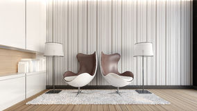 Double armchairs in the living room / 3D Rendering Stock Photo