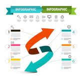 Double Arrow Presentation Concept. Vector Infographic Layout with Icons and Sample Text stock illustration