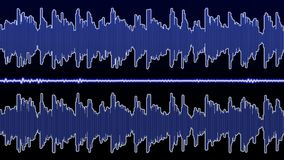 Double audio waveform equalizer - 60 seconds. Blue audio waveform theme in full HD resolution royalty free illustration