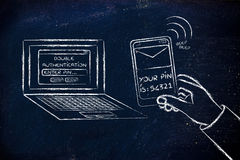 Double authentication, illustration with laptop and text on phon Royalty Free Stock Photo