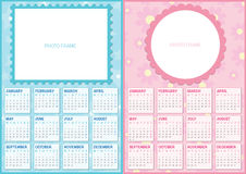 Double Baby Calendar 2016 Royalty Free Stock Images