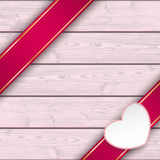 Double Banner White Heart Pink Wood Stock Photography