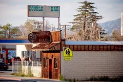 Double bar in the historic village of Lone Pine - LONE PINE CA, USA - MARCH 29, 2019. Double bar in the historic village of Lone Pine - LONE PINE CA, UNITED stock images