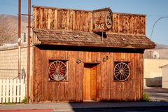 Double bar in the historic village of Lone Pine - LONE PINE CA, USA - MARCH 29, 2019. Double bar in the historic village of Lone Pine - LONE PINE CA, UNITED royalty free stock photography