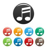 Double bar music note icons set color stock illustration