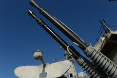 A double-barreled anti-aircraft installation near B-11. Royalty Free Stock Photos