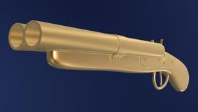 Double-barreled gun. Golden Double-barreled gun isolated on dark background Stock Images