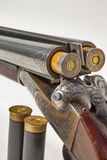 Double barreled old shotgun charged Stock Photography