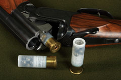 Double-barreled shotgun. In discharged, and safe Stock Image