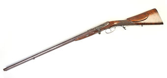 Double-barrelled side by side hunting gun Stock Images