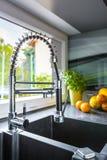 Double basin kitchen sink idea Stock Image