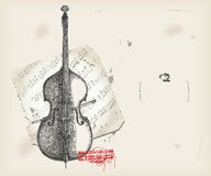 Double bass. Drawing- music instrument with score- background Stock Photography