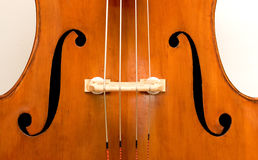 Double Bass. A close up of an orchestral Italian double bass and its f-holes Stock Photography