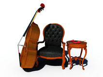 Double bass with chair and heart Stock Images