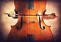 Double bass. Close-up of double bass, wooden musical instrument that is played with a bow stock image