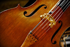 Double Bass. Detail of a double bass string music instrument Stock Images