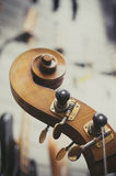 Double bass headstock close up Stock Photo