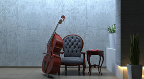 Double bass interior romantic scene Stock Photos