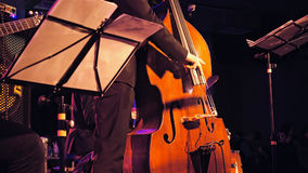 Double bass player on the stage Stock Photo