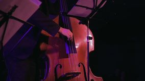 Double bass player on the stage slow motion. Contrabass player plays the double bass on the stage with sound lights. Jazz retro vintage concert performance stock video footage