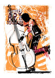 Double bass player. Vector illustration Stock Photos