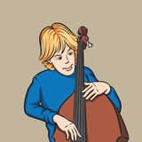 Double bass player. Vector illustration of double bass player. Easy-edit layered vector EPS10 file scalable to any size without quality loss Royalty Free Stock Photo