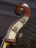 Double-Bass Scroll. Scroll, volute, tuning gears of a 4-string double-bass Royalty Free Stock Photo