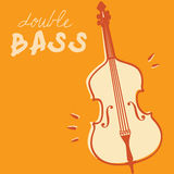 Double bass vector. Illustrations of double bass, retro style + vector eps file Stock Photo