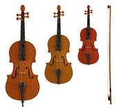 Double bass, viola and violin Stock Photos