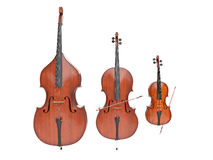 Double bass, violin and cello isolated on white. 3d render stock photo