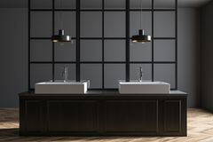 Double bathroom sink, dark wood. Gray wall bathroom interior with a metal decoration details and a double sink standing on a dark wooden countertop. 3d rendering stock illustration