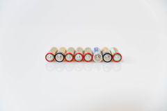 Double A Batteries. Eight Double A batteries close up Royalty Free Stock Image