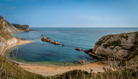 Double Bay. This double bay is a little further along the coast from the famous  Durdle Door, found on beautiful Jurassic coast, in the South of England Stock Photo