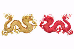 Double beautiful dragons on white background Stock Photography
